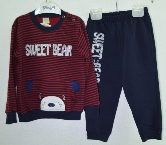 Sweet Bear Baskılı Çizgili Desen 2'li Takım