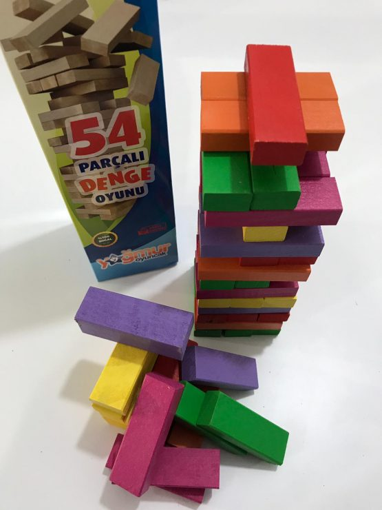 54 Parça Renkli Taşlı Denge Oyunu